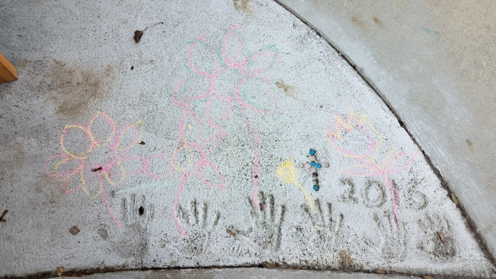 Love the flowers around the Unicorn Squad handprints!