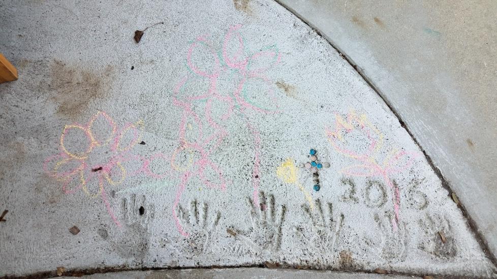 Love the flowers around the Unicorn Squad handprints!